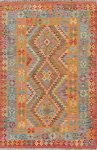 Color-full Geometric Turkish Kilim Rug Wool 4x6