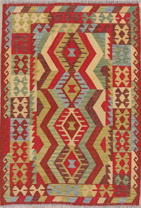 Color-full Geometric Turkish Kilim Rug Wool 4x5