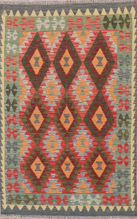Multi-Color Flat-Weave Turkish Kilim Wool Rug 4x6
