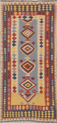 Multi-Color Flat-Weave Turkish Kilim Runner Rug 3x7