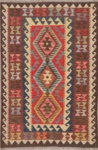 Multi-Color Flat-Weave Turkish Kilim Area Rug 3x5