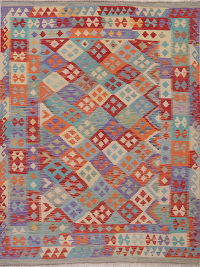 Color-full Geometric Turkish Kilim Area Rug Wool 6x7