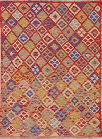 Color-full Geometric Turkish Kilim Area Rug Wool 5x7