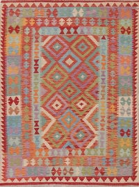 Flat-Weave Kilim Turkish Area Rug Wool 5x7