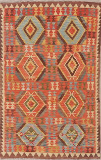 Flat-Weave Kilim Turkish Area Rug Wool 4x6