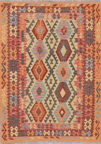 Color-full Geometric Turkish Kilim Rug Wool 5x7