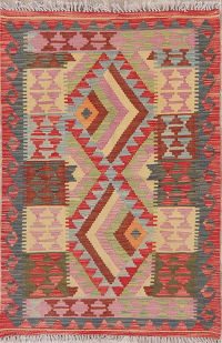 Multi-Color Geometric Turkish Kilim Rug Wool 3x5