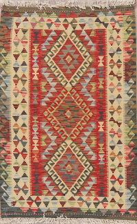 Multi-Color Geometric Turkish Kilim Rug Wool 3x4
