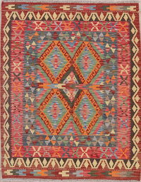 Multi-Color Geometric Turkish Kilim Rug Wool 4x5