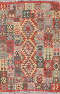 Color-full Geometric Turkish Kilim Rug Wool 3x5