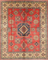 Coral Red Super Kazak-Chechen Oriental Area Rug 8x10