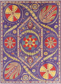 Art & Craft Purple Kazak Pakistan Wool Rug 8x11