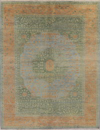 Green Muted Distressed Oushak Oriental Rug 9x12