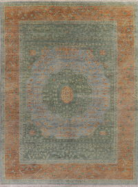 Muted Distressed Oushak Oriental Wool Rug 9x12