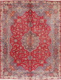 Red Mashad Floral Vintage Persian Area Rug 10x12