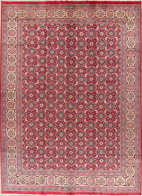 All-Over Red Sarouk Vintage Persian Wool Area Rug 10x14