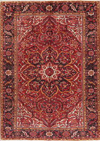 Floral Red Heriz Vintage Persian Wool Rug 9x12