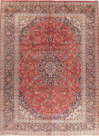 Traditional Red Kashan Vintage Persian Area Rug 9x13