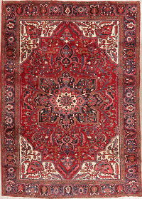 Vintage Floral Heriz Red Persian Wool Rug 8x12