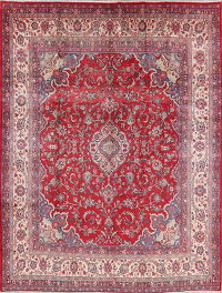 Vintage Red Floral Shahbaft Persian Wool Rug 9x12