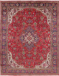 Vintage Red Tabriz Persian Wool Area Rug 10x13