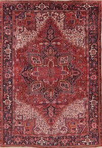 Red Heriz Serapi Vintage Persian Wool Rug 9x13