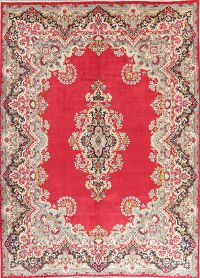 Floral Red Kerman Persian Wool Area Rug 10x14