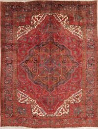 Floral Red Heriz Persian Wool Rug 8x11