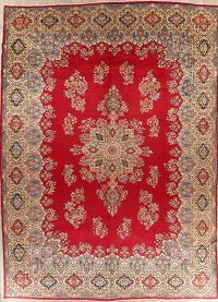 Floral Red Kerman Persian Wool Rug 12x17