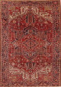 Red Geometric Heriz Persian Wool Rug 9x13