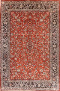 Vegetable Dye Floral Sarouk Persian Wool Rug 11x17