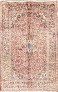 Mute Red Traditional Kashan Persian Wool Area Rug 6x10
