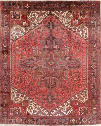 Geometric Red Heriz Persian Wool Rug 9x11