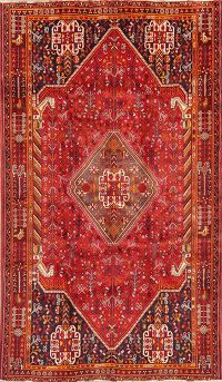 Red Geometric Shiraz Persian Wool Rug 5x9