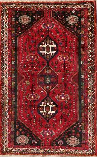 Tribal Abadeh Red Persian Wool Rug 5x8