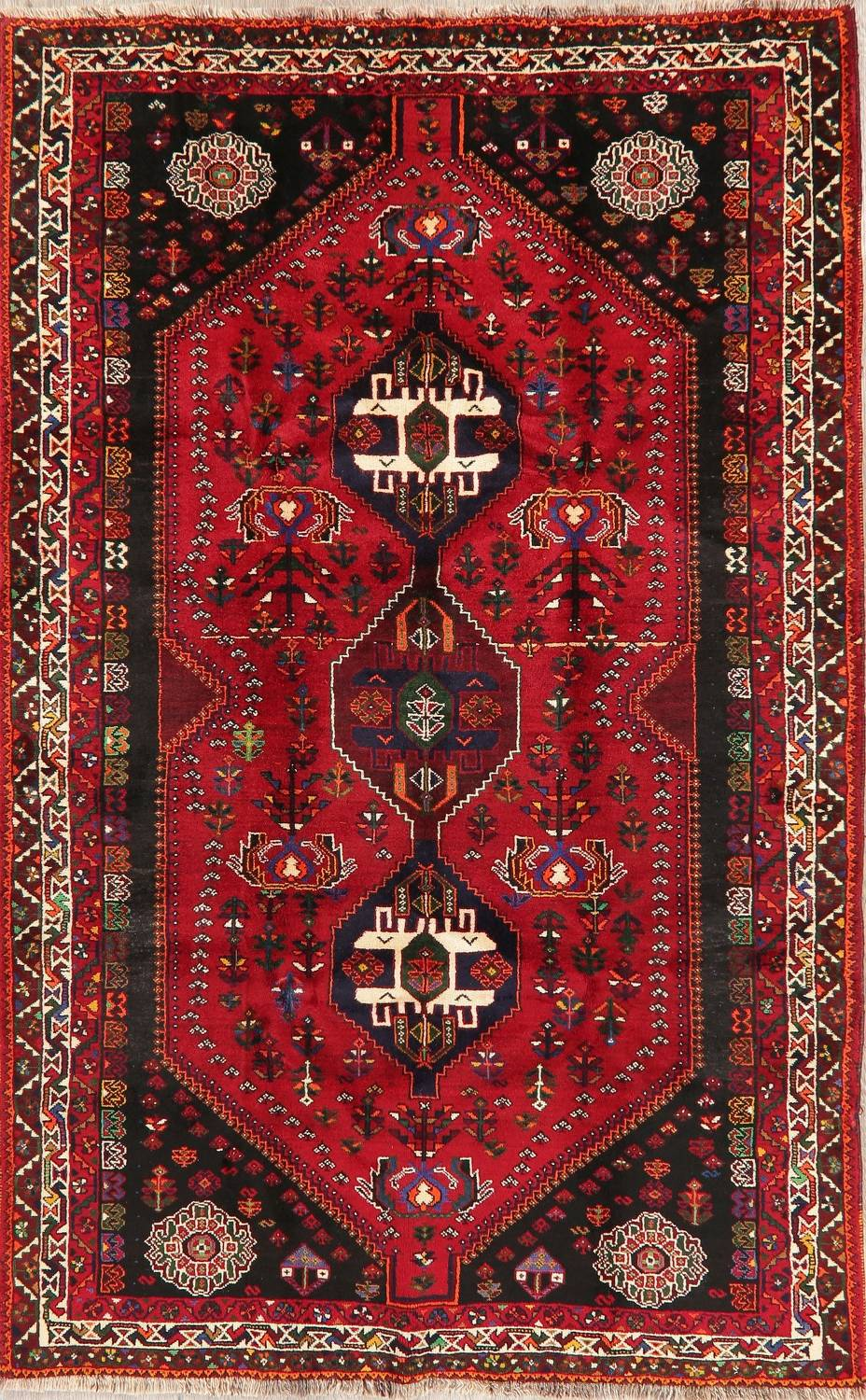 Tribal Abadeh Red Persian Wool Rug 5x8 image 1
