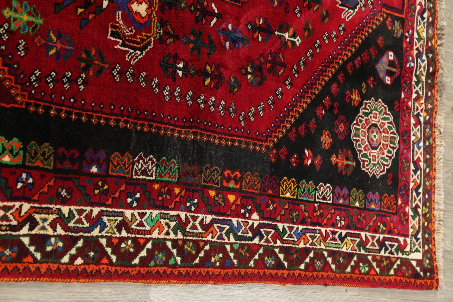 Tribal Abadeh Red Persian Wool Rug 5x8 image 12