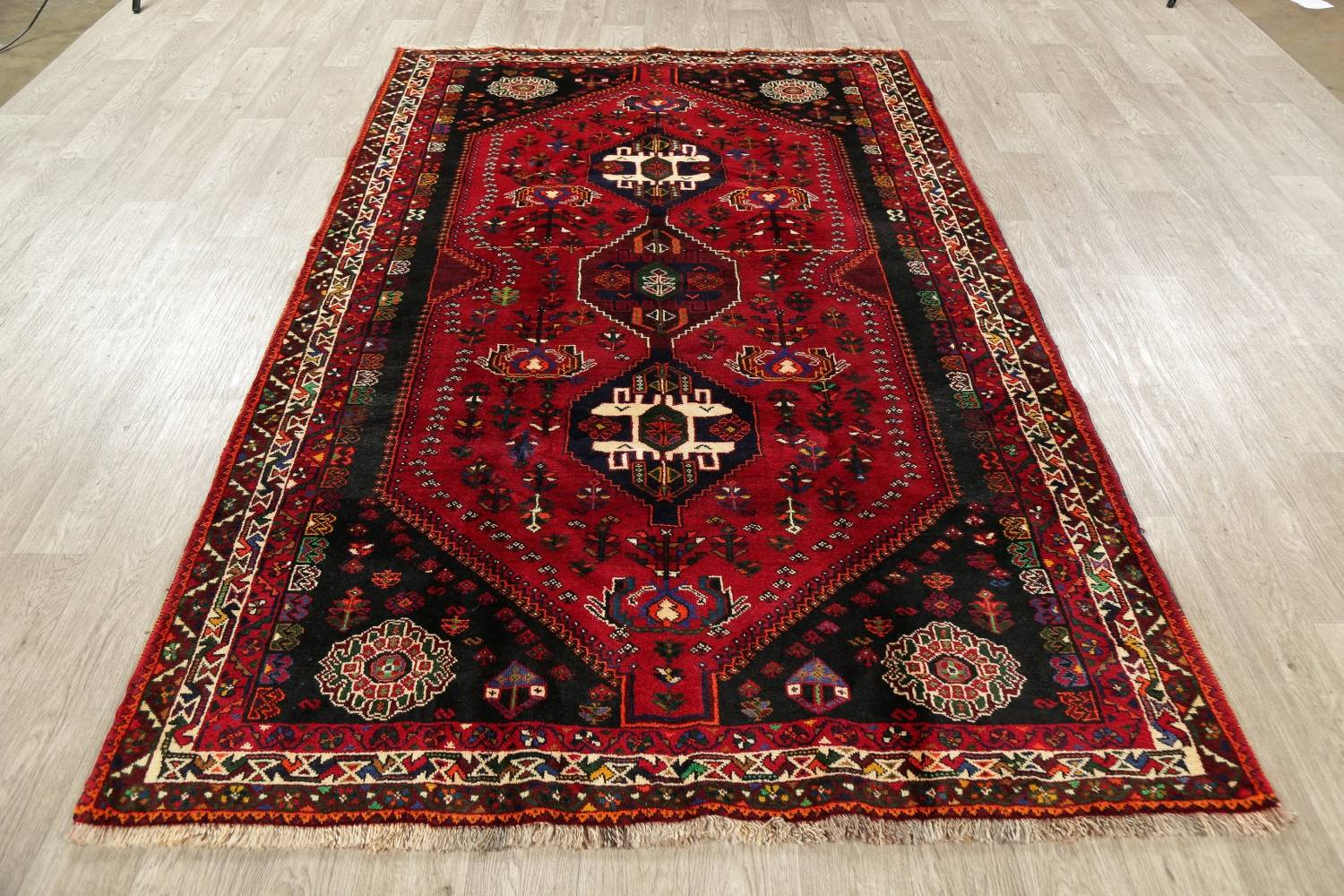 Tribal Abadeh Red Persian Wool Rug 5x8 image 14