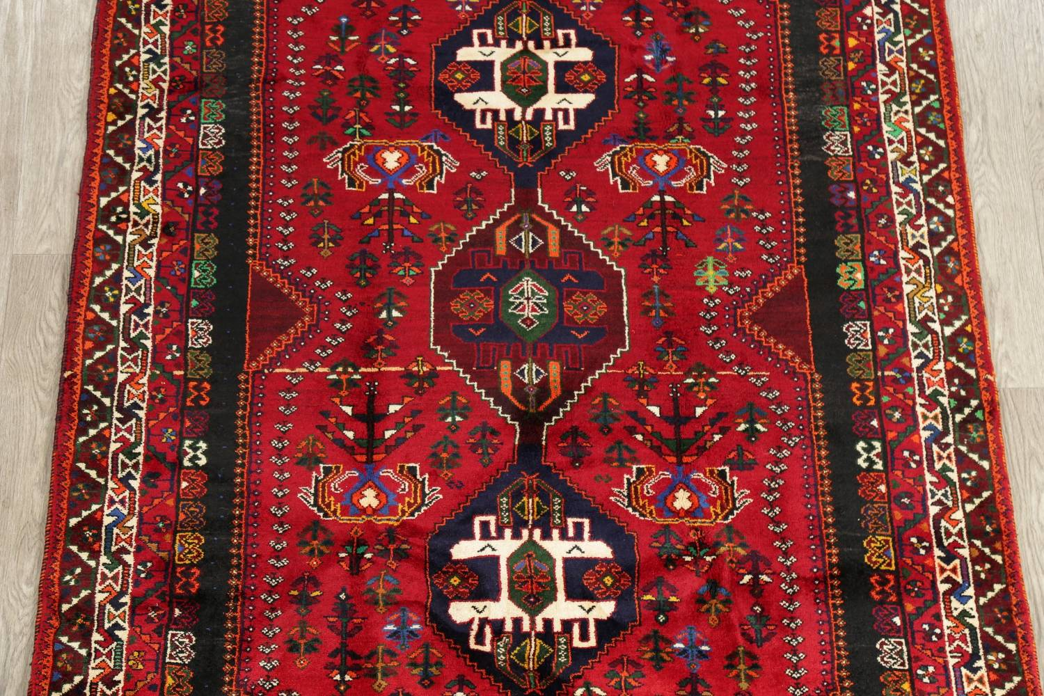 Tribal Abadeh Red Persian Wool Rug 5x8 image 3