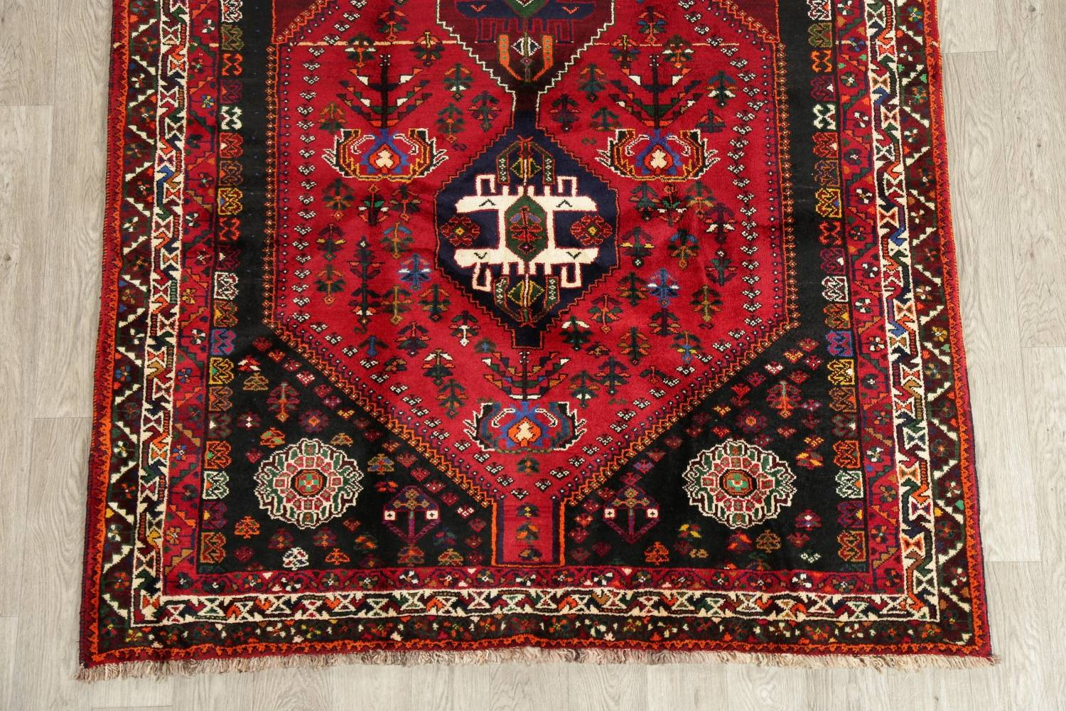 Tribal Abadeh Red Persian Wool Rug 5x8 image 5