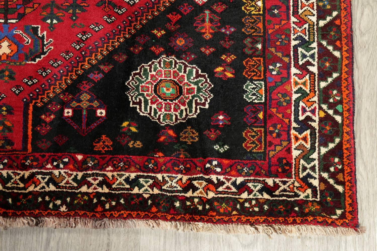 Tribal Abadeh Red Persian Wool Rug 5x8 image 6