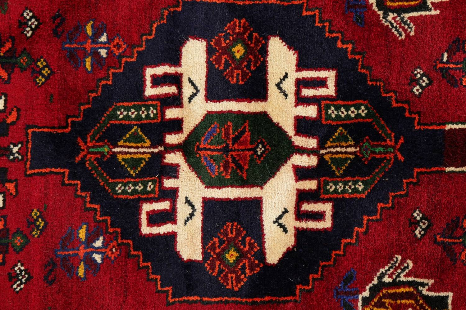 Tribal Abadeh Red Persian Wool Rug 5x8 image 9