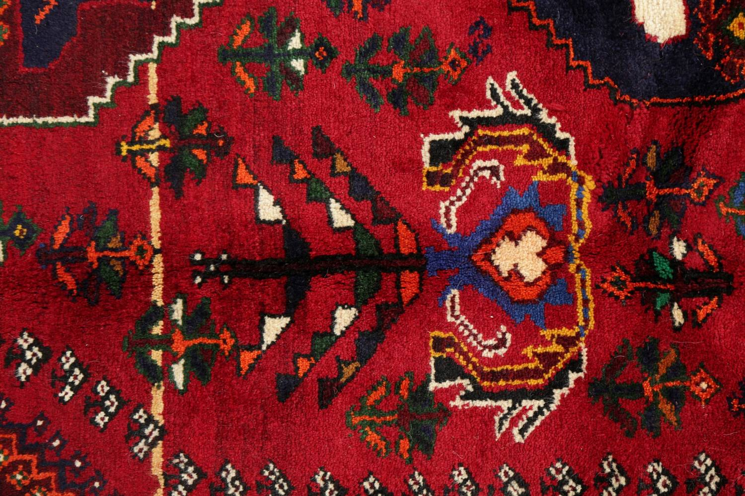 Tribal Abadeh Red Persian Wool Rug 5x8 image 10