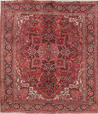 Vintage Floral Red Heriz Persian Wool Rug 8x9