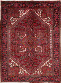 Red Geometric Heriz Vintage Persian Area Rug 7x10