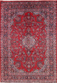 Floral Red Shahbaft Vintage Persian Wool Rug 7x11