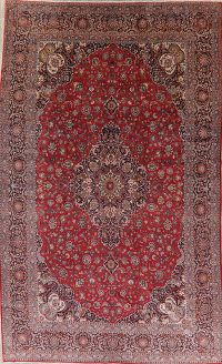 Antique Floral Red Kashan Dabir Persian Wool Rug 11x17