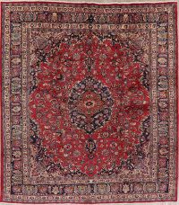 Vintage Traditional Floral Mashad Persian Wool Rug 10x11 Square