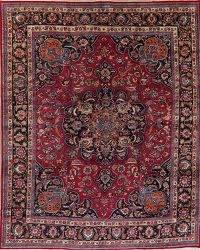 Vintage Traditional Floral Signed Mashad Persian Wool Area Rug 10x12