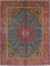 Antique Teal Tabriz Persian Wool Area Rug 10x13